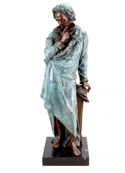 Opulente Bronze Statue - Ludwig von Beethoven - signiert Teupheme