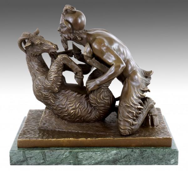 Pan and the Goat - Erotische Bronzefigur - Faun mit Ziege - Pompeji