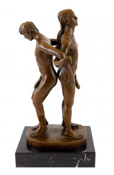 Bronze-Figur - Gay Paar in akrobatischer Haltung - sign. M. Nick