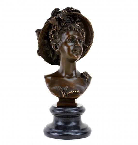 Porträtbüste aus Bronze - Jugendstil Dame - sign. Carrier-Belleuse