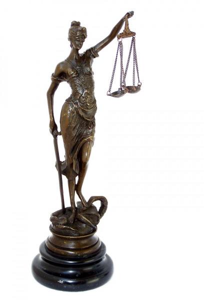Justitia Bronze Skulptur klein mit Schwert und Waage