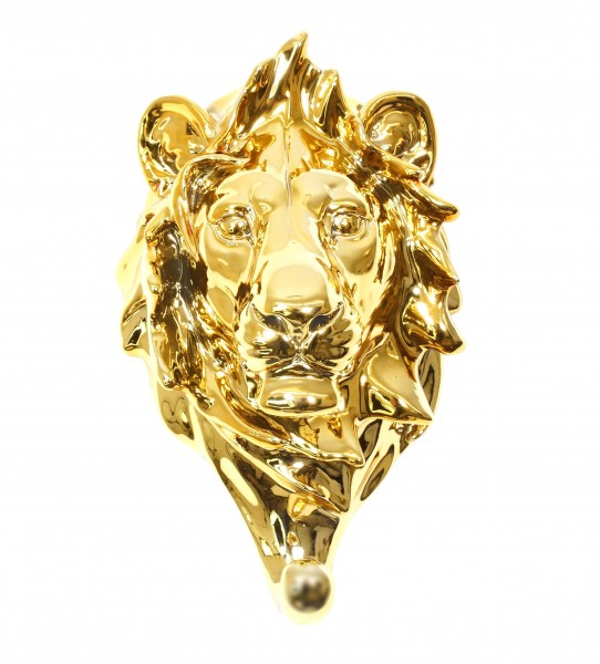 Goldene Löwenkopf Handtuchhalter  - Limitierter Wandhaken - Martin Klein