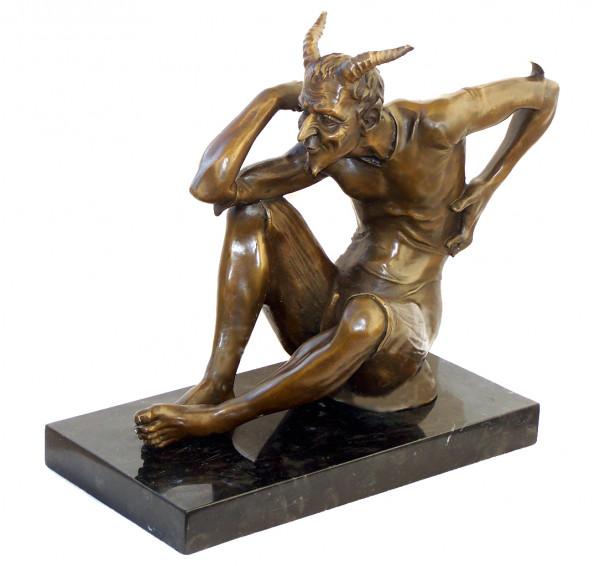 Erotik Bronzefigur Lüsterner Faun - Satyr - signiert Milo