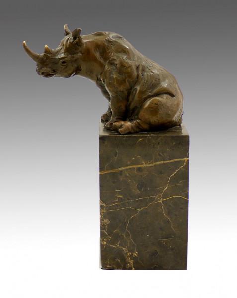 Abstrakte Tierbronze - Sitzendes Nashorn - signiert Milo