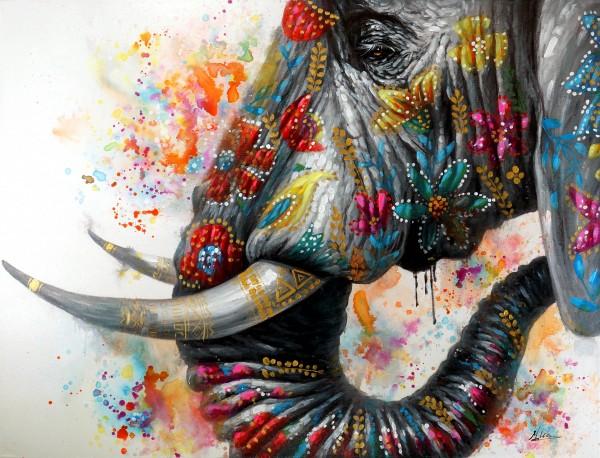 Elephant on Holi Festival – Buntes Tierbild – Martin Klein – Elefantenbild