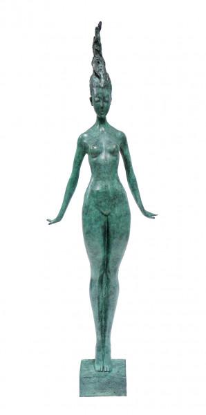 Filigraner Frauenakt aus Bronze - Die Schwebende - sign. Milo