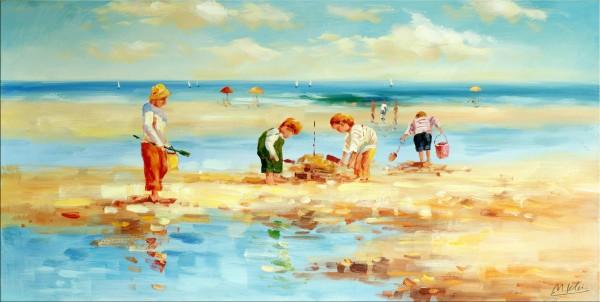 Ein Tag am Meer - Ölgemälde - Martin Klein - Strandbild auf Leinwand