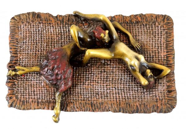 Erotische Bronze - Faun befriedigt Jungfrau - Echte Bronze