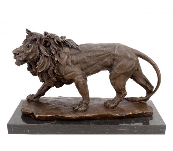 Tierskulptur aus Bronze - Laufender Löwe - Tierfigur - signiert Milo