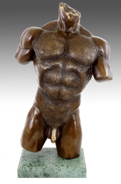 Muskulöser Männertorso - Erotische Akt Bronze - M. Nick
