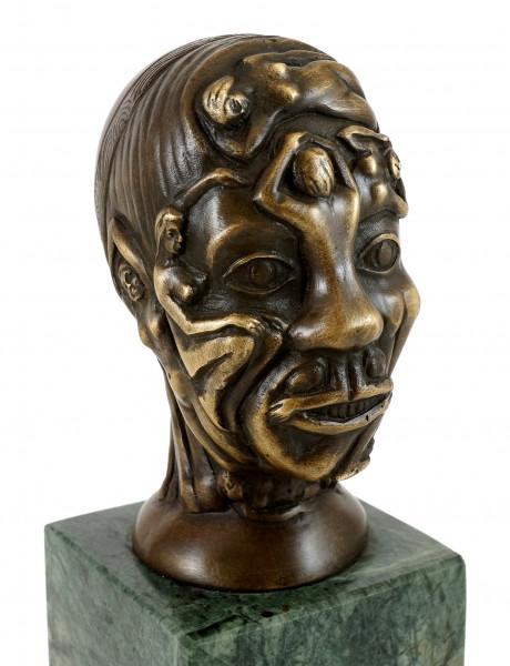 Bronzefigur - Kopf mit Frauen-Relief - Martin Klein - signiert