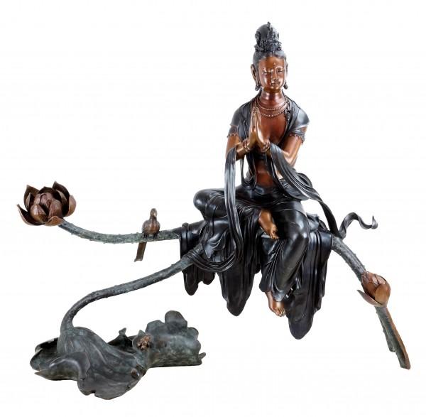 Weiße Tara - Bronze Buddha Statue - Yoga Zen Skulptur - sign.  Milo