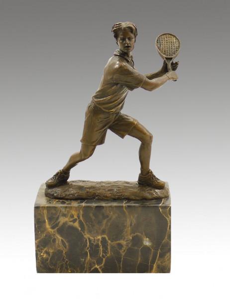 Bronze-Pokal auf Marmor - Der Tennisspieler - sign. Milo