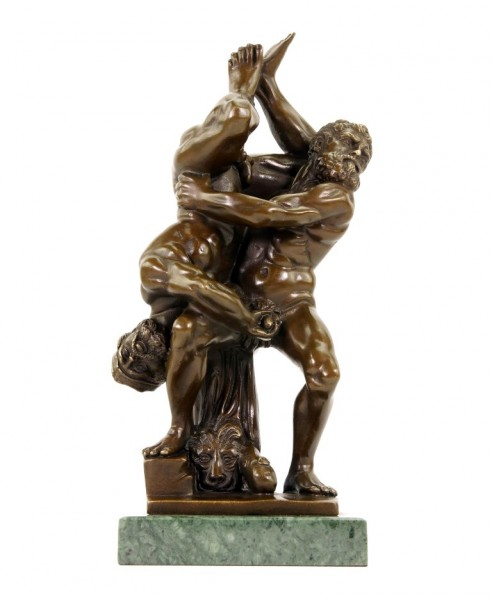 Homoerotische Bronzestatue - Kampfeslust - signiert Milo