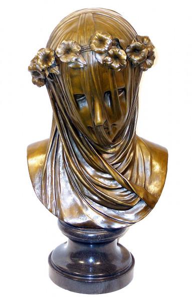 Großbronze Jugendstil Bronze Büste - Maria mit Schleier signiert
