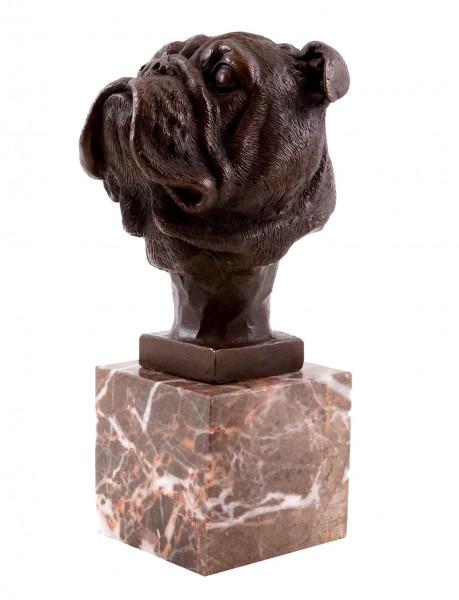 Tierfigur aus Bronze - Kopf einer Bulldogge - sign. Milo