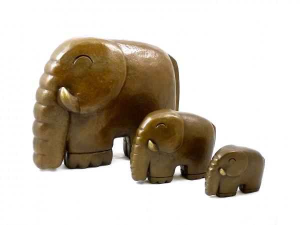 Moderne Skulptur- Kleine Elefantenfamilie- signiert Milo