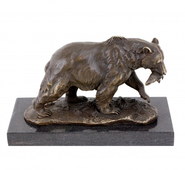 Grizzlybär mit Lachs - Tierskulptur - Braunbär aus Bronze von  Milo