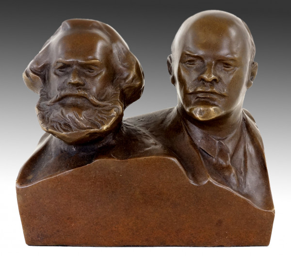 Bronze Büste - Marx und Lenin - Bronzefigur